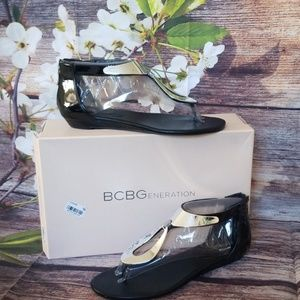 BCBGeneration Black Patent Sandals